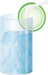 pahar apa minerală cu felie de lime și pai băuturi non-acloolice