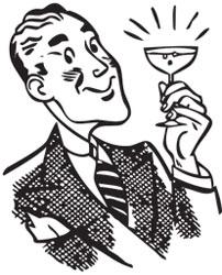 băutor alcool cu pahar în mână