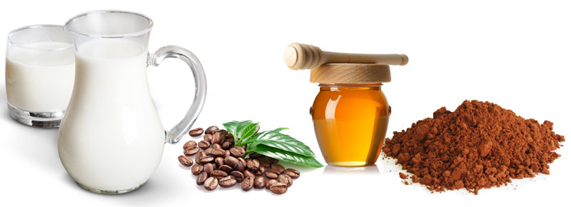 ingrediente mască super revigorantă cafea lapte miere cacao